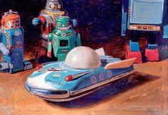 Universe Car by Eric Joyner Arte Robot, Robot Art, Eric Joyner, Robby The Robot, Retro Rocket, World Of Tomorrow, Space Toys, Still Life Oil Painting, Pop Culture Art