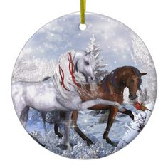 Christmas Holiday Horses Double-Sided Ceramic Round Christmas Ornament