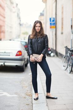 flats, jeans & leather jacket