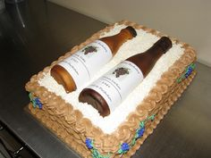 Wine Bottle Cake Sheet cakes with buttercreme basketweave. Wine Bottle Cake, Wine Bottles, Butter, White Chocolate, Basket Weaving, Creme, Fondant, Sheet Cakes, Cake Ideas