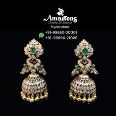 Diamond Earrings Indian, Diamond Jhumkas, Pearl Diamond, Emerald Diamond, Diamond Studs, Diamond Rings, Jewelry Design Earrings, Gold Earrings Designs, Jewellery Box