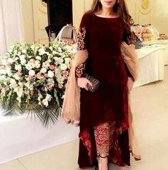 A perfect lohri wear. Will save u from cold plus its stylish. Velvet Pakistani Dress, Pakistani Formal Dresses, Pakistani Dress Design, Pakistani Fashion Party Wear, Pakistani Wedding Outfits, Indian Fashion Dresses, Indian Outfits, Fancy Dress Design, Stylish Dress Designs