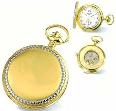 Pocket Watch - Charles Hubert Chrome & 14k Gold Plated Open Back Pocket Watch Goldfinger. $119.95