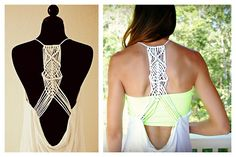 Macrame on the back of a shirt, DIY made at home