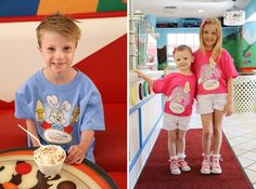 It's Ice Cream for Breakfast Day! We're happy to celebrate this fun tradition every morning at our Ice Cream Palace, and we encourage you to do the same. 🍦  Why not make it even sweeter with one of our adorable #GKTWVillage Ice Cream for Breakfast t-shirts featuring Mayor Clayton and Ms. Merry? You'll find these cool offerings and more at our online Memory Market gift shop: http://www.givekidstheworldstore.org/SearchResults.asp? #BabyandMother #BabyClothing #BabyCare #BabyAccessories