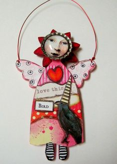 Love Angel Mixed Media Art  Doll Wood Angel with Hanger by IMGirl