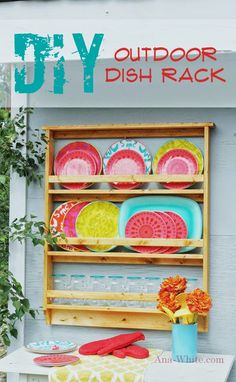 Outdoor plate rack for those pretty dishes!