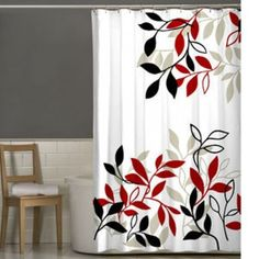 Lovely Satori Leaves Shower Curtain Red Black White New And  This Would Work In My Zebra Themed