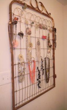 DIY Jewelry Organizer via Design Fabulous Great re-purpose of an old gate! : DIY Jewelry Organizer via Design Fabulous Great re-purpose of an old gate! Jewellery Storage, Jewellery Display, Diy Jewelry, Jewelry Making, Handmade Jewellery, Jewelry Ideas, Jewelry Stores, Jewellery Shops, Jewelry Stand