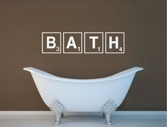 Add interest to any bathroom decor with ease Bathroom Wall Stickers, Wall Stickers Quotes, Bathroom Wall Art, Wall Decal Sticker, Bathroom Ideas, Scrabble Wall Art, Bath Design, Beautiful Wall, Wall Plaques