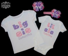 Personalized Big Sis Lil SIs Applique Shirt and Hairbow Set  Big SIs Shirt and Bow  Lil SIs Shirt and Bow - pinned by pin4etsy.com
