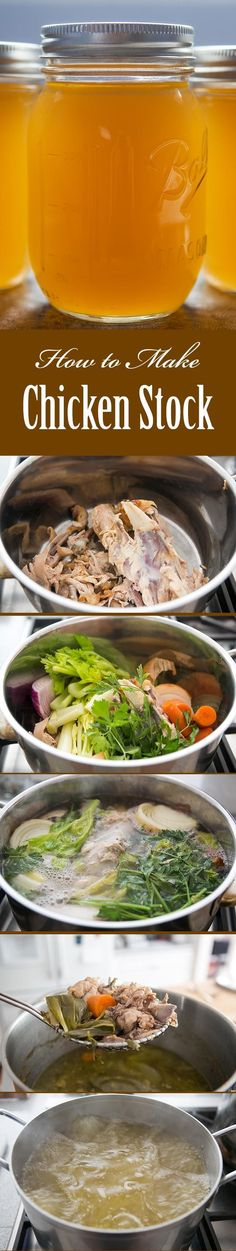Making homemade chicken stock is EASY! Not only do you save money because you don't have to buy boxed stock, the stock itself is so much healthier for you. All the iron and vitamin rich marrow from the bones, and collagen too. Here are 3 tried and true ways to make stock. On http://SimplyRecipes.com