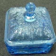 Tiara Indiana Ice Blue Glass Honey Bee Hive Candy Dish Trinket Box w Lid | eBay $21.95