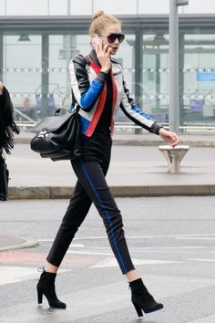 GigiHadidDaily: #Versace!! From GigiHadidDaily closet VERSACE Ryder中号单肩包 VERSACE Stretch Wool Gabardine Trousers STUART WEITZMAN Glove