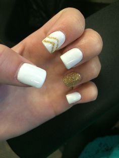 white & gold gel acrylic nails #gel #nailart