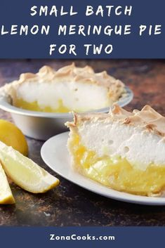 This Lemon Meringue Pie Small Batch recipe has a sweet and tart lemon filling topped with creamy lightly browned meringue in a homemade crust This cute little delicious dessert serves 2 Plan ahead a - Small Desserts, Lemon Desserts, Just Desserts, Delicious Desserts, Mason Jar Desserts, Mug Recipes, Lemon Recipes, Sweet Recipes, Recipies