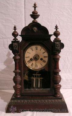 Reloj de Péndulo de Sobremesa Junghans, fabricado en Alemania - Sonería y despertador. Circa 1890