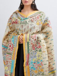 Discover thousands of images about Multicolor Hand Embroidered Kantha Tussar Silk Dupatta Kurta Designs, Blouse Designs, New Style Suits, Casual Dresses, Fashion Dresses, Hand Embroidery Dress, Elegant Saree, Silk Dupatta, Indian Designer Outfits