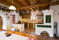 Old World Kitchens, Cabin Kitchens, Indian Home Interior, Home Interior Design, Wood House Design, European House, Cottage Interiors, House In The Woods, Beautiful Kitchens