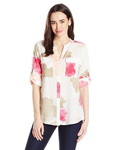 dcb2ed3ff Calvin Klein Women's Printed Roll-Sleeve Blouse: Printed button front roll  sleeve blouse with pockets