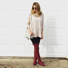 Ivory sweater - burgundy over the knee boots