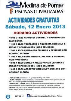 12/01/2013 Medina de Pomar. Merindades  Actividades gratuitas en las Piscinas Climatizadas  Necesario inscripción previa