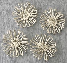 Twine Flower Tutorial  by Tracey Sabella. I created a photo tutorial to show how to create these twine flowers.