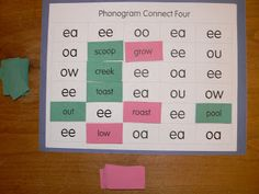 Mrs. T's First Grade Class: Language Arts. Game board, programmed with phonograms.  Draw a word card and place it on the related phonogram--easily adapted to any spelling/reading skill.  Connect 4 to win