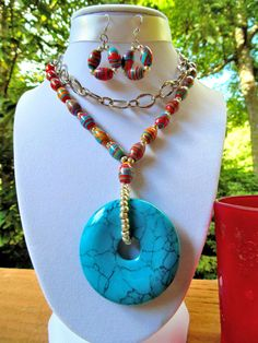 Long Dreamy Turquoise Donut Necklace With by DreamscapesinJewelry, $72.00