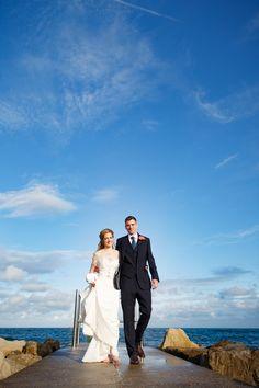 Bride and groom sandbanks beach summertime