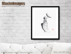 Abstract back view portrait of a Maiko, apprentice Geisha, in kimono walking with a... Image MXI32537. Buy it as Art print, Canvas print, Wall tapestry, Greetings cards at MaximImages.com #geisha #maiko #Japanese #woman #parasol #umbrella #girl #young #sumi-e #sumi #painting  #buy #illustration #illustrations #prints #artprint #wallart #fineartprints Wall Art Prints, Fine Art Prints, Canvas Prints, Zen Home Decor, Sumi E Painting, Umbrella Girl, Geisha, Wall Tapestry, Highlights