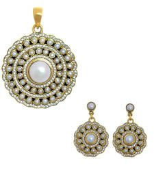 Buy antique High Quality CZ stone round shaped pearl pendant with earring gold plated Pendant online