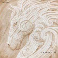 Beautiful horse painting in white with swirls and a wild mane. Love the horse art! The Kelpie by A. Andrew Gonzalez. Please also visit www.JustForYouPropheticArt.com for more colorful art you might like to pin or purchase. Thanks for looking!