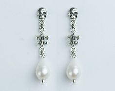 Albus margarita (silver) / - Drop Pearl Earrings | Bridal Earrings | Pearl Earrings | Sterling Silver Stud Earring