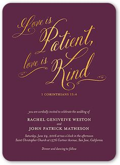 Love is patient, love is kind. The Bible is a resource to find romantic verses about love and relationships useful for writing your vows or reading during the ceremony. Find a verse that's unique t… Wedding Bible Verses, Wedding Quotes, Wedding Cards, Christian Wedding Invitation Wording, Fun Wedding Invitations, Invites, Journal Pages, Journals, Verses About Love