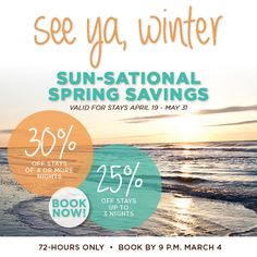 Happy March! Spring into the new month with this limited-time #special #offer on #Charleston #Spring #Beach #Getaways! Enjoy up to 30% #Savings - http://www.wilddunes.com/packages/sun-sational-72-hour-charleston-sc-spring-vacation-sale-?utm_source=social&utm_medium=other&utm_campaign=Spring72Hr