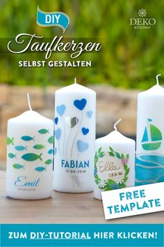 DIY: design your own christening candles - Have you ever decorated candles yourself? This is a lot of fun and there are countless possibilitie - Diy Candles, Pillar Candles, Design Your Own, Diy Design, Diy Home Decor Bedroom, Foundation Piecing, Candels, Baby Shower Cards, Diy Kitchen