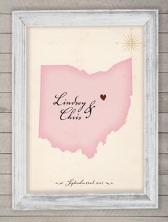 wedding guest book alternative - custom state map print