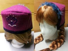 I just finished Anna's cute little hat! I'm done with machine sewing for this costume. The end is in sight! Anna Costume, Frozen Costume, Disney Cosplay, Anna Frozen, Hair Makeup, Lily, Beanie, Costumes, Disney Princesses