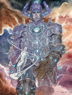 The Bristol Board: Galactus and Silver Surfer by Daniel. Arte Dc Comics, Marvel Comics Art, Marvel Comic Universe, Comics Universe, Marvel Heroes, Marvel Cinematic Universe, Comic Book Characters, Marvel Characters, Comic Character