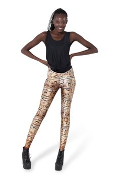 Sometimes women's fashion is like hieroglyphs to those who just don't get it. But you get it, don't you? That's why you're here. The writing's on the wall: these leggings are for the sphinxes who turn heads like all the peeps in ancient Egyptian paintings. (Has anyone else noticed that? They always look like a hott little boss has just walked by...) Composition: 83% Polyester Bright, 17% Spandex   Washing: Please hand wash cool. Designer: James Lillis Made in: Australia