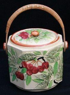 Cookie Jars Vintage Cookie Jar With Cherries And Wooden Handle Made In Japan Collectibles