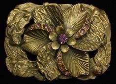 Vintage Art Nouveau Brass Floral Amethyst Rhinestone Lily Flower Sash Brooch Pin