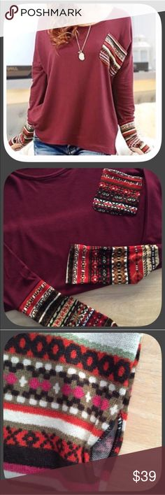 "HP NWT Sweet Burgundy Thumb Sleeve Aztec Sweater HP 8/11/16! ""Back To Basics ""! This is a very sweet, fun top! It has thumb holes to keep your hands warm on a cool fall day! I get tons of compliments whenever I wear mine! I love it! Super soft and comfortable! Sleeve pattern varies! Chosen by @rumpster please check out her gorgeous closet  Boutique Sweaters Crew & Scoop Necks"