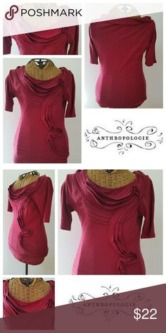 "Pilcro Anthropologie burgundy shirt XS Adorable shirt to bring in the Fall Sz XS Cotton Burgundy  Fabulous fan layers on front Underarm to underarm 13.5"" Top of shoulder to hem 22"" Excellent condition Anthropologie Tops Tees - Short Sleeve"