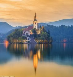 The ethereal Bled Lake came into existence when the Bohinj Glacier shifted. It is 7,000ft ...