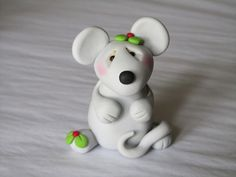 Polymer Clay Christmas Mouse by ClayPeeps on Etsy, $9.00
