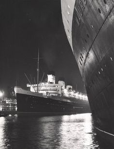 The Queen Mary in the ocean dock with the RMS Mauretania II [1939 to 1965].