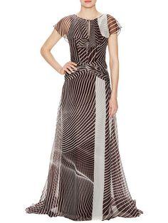 Printed Silk Ruffle Gown by Carolina Herrera at Gilt