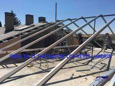 Estructura ligera metalica en un tejado de pizarra en Madrid Metal, Madrid, Slate Roof, San Jose, Steel, Metals